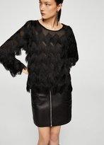 MANGO Fringed detail blouse