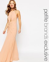 Jarlo Petite Keyhole Halter Maxi Dress With Ruched Detailing