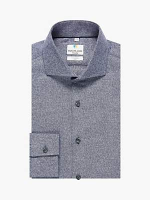 Richard James Mayfair Melange Twill Slim Fit Shirt, Blue