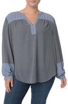 NYDJ Plus Size Women's Print Split Neck Peasant Blouse