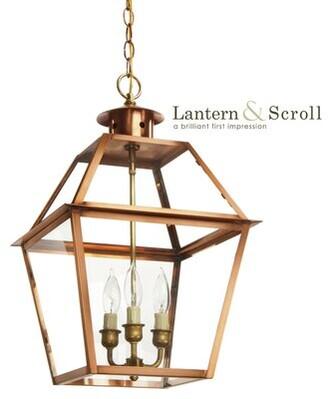 "Charleston 3 - Light Lantern Geometric Pendant with Brass Accents Lantern & Scroll Finish: White, Chain Length: 18"""