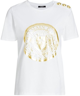 Balmain 3-Button Metallic Crest Graphic T-Shirt