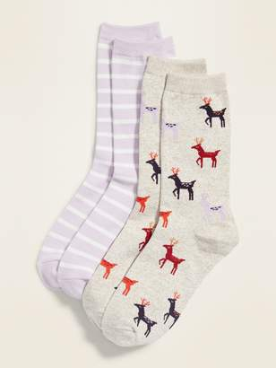 Old Navy 2-Pack Plush Printed Crew Socks for Women
