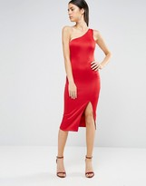 AX Paris One Shoulder Midi Dress With Thigh Split