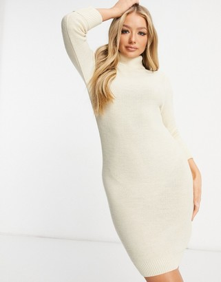 Brave Soul mny roll neck jumper dress in stone