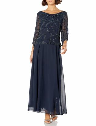 J Kara Women's Three Quarter Sleeve Beaded Dress