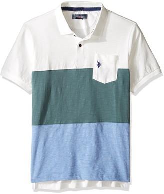 U.S. Polo Assn. Men's Striped Short Sleeve Classic Fit Slub Polo Shirt
