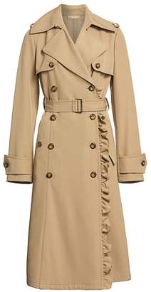 Michael Kors Ruffle Belted Wool Trench Coat
