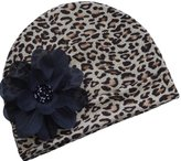 Funny Girl Designs Leopard Print Silk Flower Baby Hat
