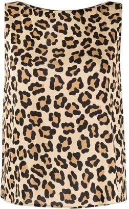L'Autre Chose Leopard Print Boat Neck Top