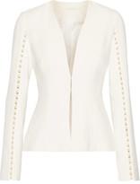 Jonathan Simkhai Faux Pearl-embellished Cutout Stretch-crepe Jacket - Off-white