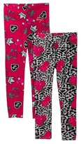 Betsey Johnson Roses and Snow Leopard & XOX Queen Print Leggings - Set of 2 (Big Girls)