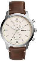 Fossil Fs5350 Townsman Chronograph Leather Strap Watch, Brown/cream