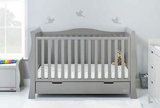 O Baby Obaby Stamford Sleigh Luxe Cot Bed and Fibre Mattress - Warm Grey