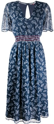 Tommy Jeans Smocked-Waist Paisley-Print Dress