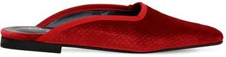 Chiara Biasi 10mm Phython Embossed Velvet Mule Flats