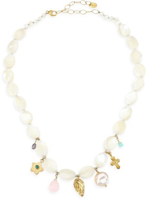 Chan Luu 18K Goldplated, Mixed Pearl & Gemstone White Necklace