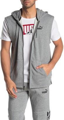 Puma Logo Sleeveless Zip Front Hoodie