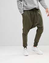 Asos Lightweight Extreme Drop Crotch Jogger In Khaki