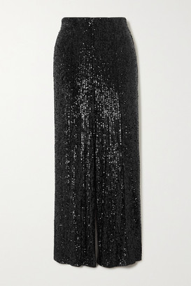 Diane von Furstenberg Rhiannon Sequined Stretch-tulle Wide-leg Pants - Black