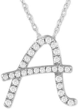 """Macy's Diamond Initial Pendant Necklace (1/10 ct. t.w.) in Sterling Silver, 16"""" + 2"""" Extender"""