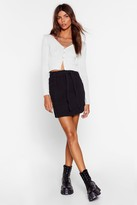 Nasty Gal Womens Ask Me Tie Denim Paperbag Mini Skirt - black - 8