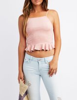 Charlotte Russe Ruffle Bib Neck Faux Suede Crop Top