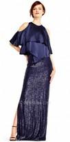 Aidan Mattox Cold Shoulder Drape Tiered Sequin Evening Dress