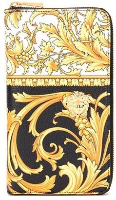 Versace Barocco Print Zip-Up Wallet