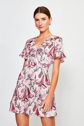 Karen Millen Floral Wrap Short Sleeve Dress