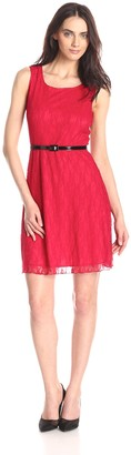 Star Vixen Women's Sleeveless Lace Skater Dress with Belt