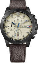 Tommy Hilfiger Men's Cool Sport Watch Brown Leather Strap Watch 46mm 1791164