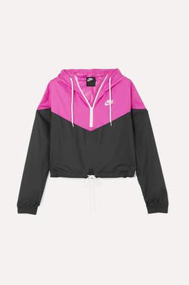 Nike Cropped Hooded Two-tone Shell Jacket - Black