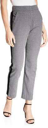 Veronica Beard Gemini Side-Stripe Gingham Pants - Extended Sizes