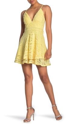 Love, Nickie Lew Layered Hem Lace Skater Dress