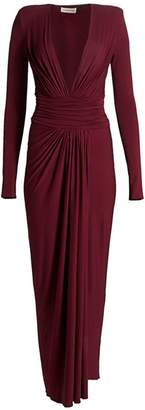 Alexandre Vauthier Gathered Jersey Plunging Long-Sleeve Gown