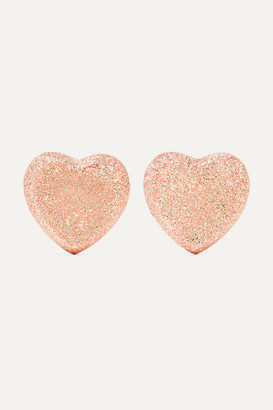 Carolina Bucci Heart Button 18-karat Rose Gold Earrings - one size