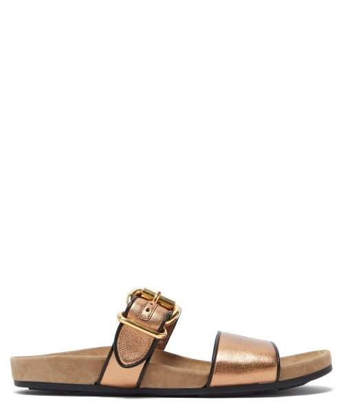 Prada Double Strap Metallic Leather Slides - Womens - Bronze