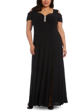 R & M Richards Plus Size Rhinestone-Detail Gown