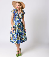 Emily And Fin 1930s Style Blue Blossoming Poppies Cap Sleeve Flora Swing Dress