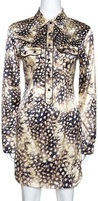 Roberto Cavalli Bicolor Animal Print Silk Shirt Dress S