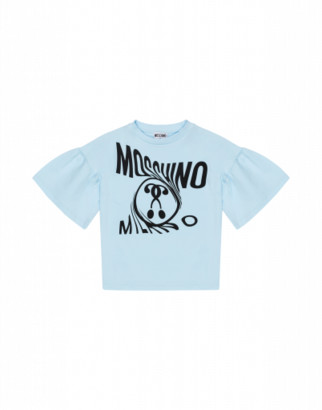 Moschino Distorted Double Question Mark T-shirt Woman Blue Size 4a It - (4y Us)