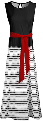 Lily Women's Maxi Dresses BLK - Black & Red Color Block Stripe Tie-Front Sleeveless Maxi Dress - Women & Plus