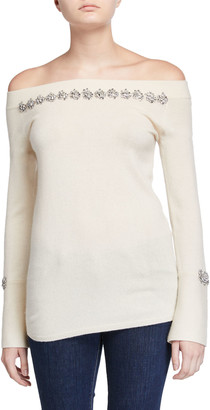 Neiman Marcus Cashmere Off-the-Shoulder Long-Sleeve Embellished Sweater