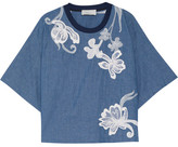 3.1 Phillip Lim Silk-trimmed Embroidered Cotton-chambray Top - Blue