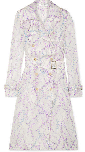 Max Mara Floral-print Silk-organza Trench Coat
