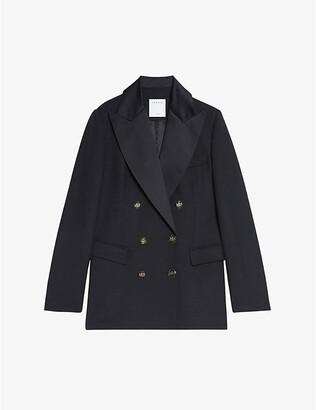Sandro Pely satin-lapel wool-blend jacket