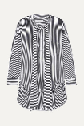 Balenciaga New Swing Striped Cotton-poplin Shirt - Black