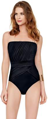 Gottex Women's Pleated Draping Bandeau One Piece Swimsuit