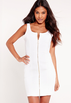 Missguided Fitted Denim Dress White